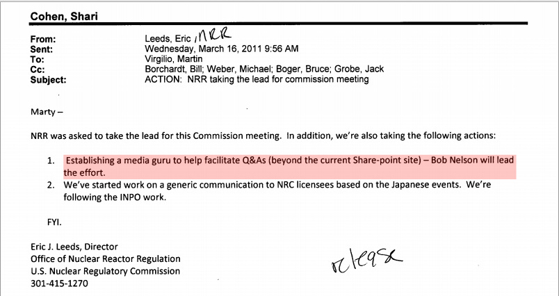 nrc, official narrative, fukushima, media guru